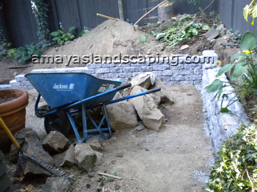 Patio area with steps BEFORE installation of bricks, potted plants, and side retaining wall.