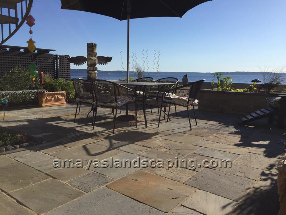 Patio by Puget Sound.