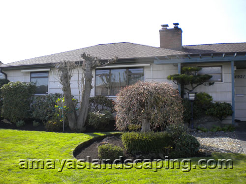 Lawn maintenance, edging, pruning.