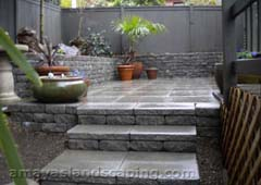 patio with steps